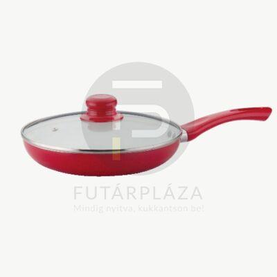 Fedős serpenyő 22cm piros DS-199-22