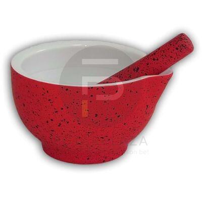 Porcelán mozsár 14cm piros PH-10021