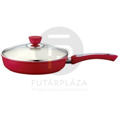 Fedős serpenyő 24cm piros PH-15393-24