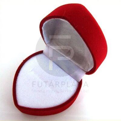 Piros szívecske gyűrűdoboz -