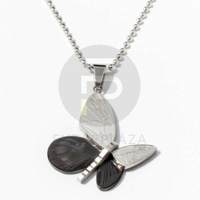 Acél pillangó medál nyaklánccal