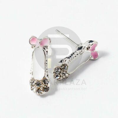 Ezüst bevonatos balettcipő formájú fülbevaló