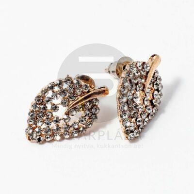 Arany bevonatos levél alakú fülbevaló kövekkel