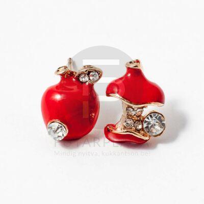 Köves almacsutka fülbevaló piros