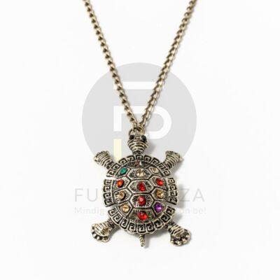Antikolt nyaklánc színes köves teknős medállal