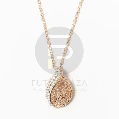 Rózsaarany bevonatos nyaklánc kövekkel díszített medállal