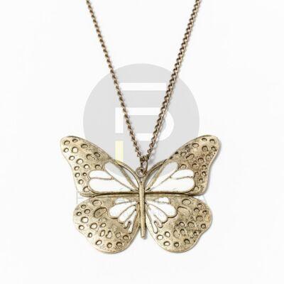 Antikolt nyaklánc pillangós medállal