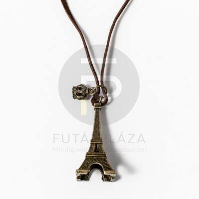 Eiffel torony medál barna bőrszíjjal - antikolt