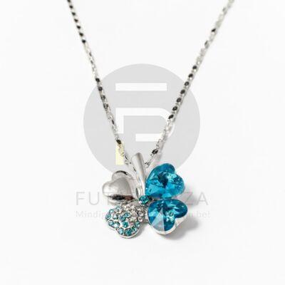 Fehérarany bevonatos nyaklánc lóhere medállal - kék