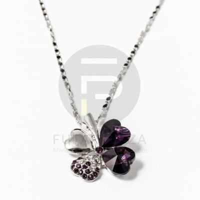 Fehérarany bevonatos nyaklánc lóhere medállal - sötét lila
