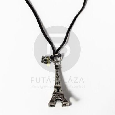 Eiffel torony medál fekete bőr szíjjal - ezüst bevonatos