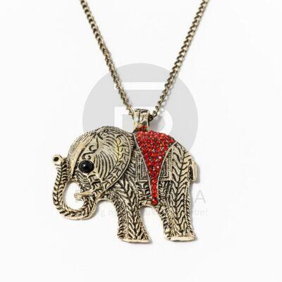 Nyaklánc  piros köves elefánt medállal