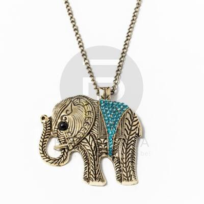 Nyaklánc  kék köves elefánt medállal