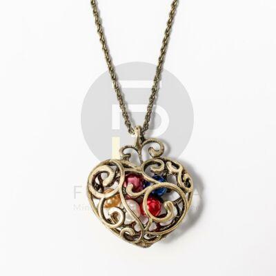 Gyöngyös szív medál nyakláncon - antikolt