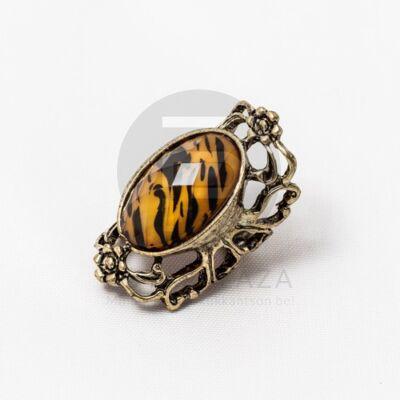 Antikolt tigris mintás gyűrű