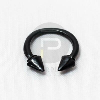 Tüskés nyitott gyűrű - fekete