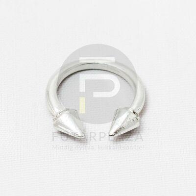 Tüskés nyitott gyűrű - ezüst bevonatos