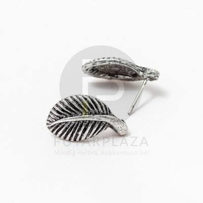 Antikolt ezüst bevonatos levél formájú fülbevaló