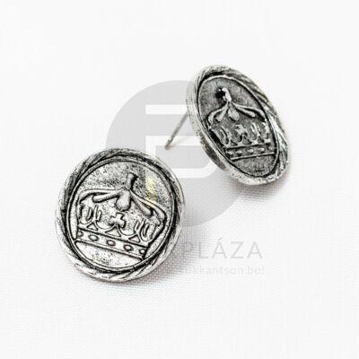 Antik ezüst bevonatos korona mintás fülbevaló