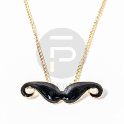 Arany bevonatos bajusz medálos nyaklánc fekete