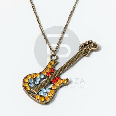Antikolt gitár medálos nyaklánc színes kövekkel