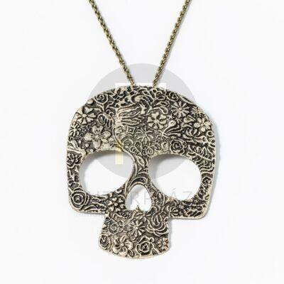 Antikolt koponya medálos nyaklánc