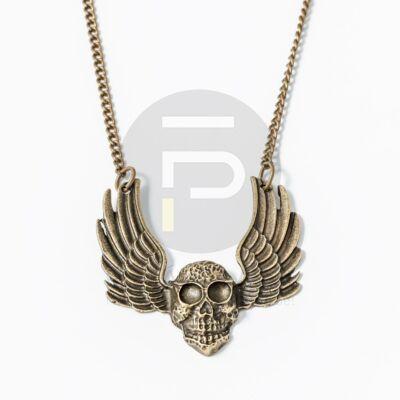 Antikolt szárnyas halálfej medálos nyaklánc
