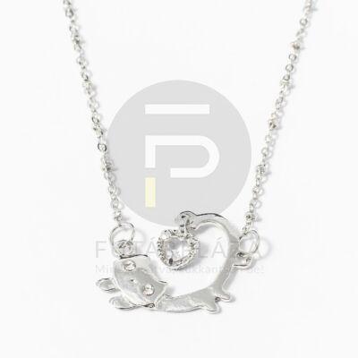 Ezüst bevonatos cica medálos nyaklánc