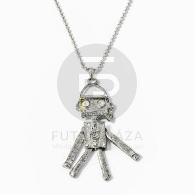 Robot medálos nyaklánc - antikolt ezüst bevonatos