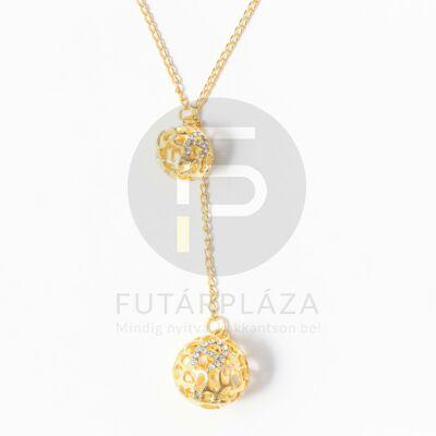 Arany bevonatos gömb medálos nyaklánc