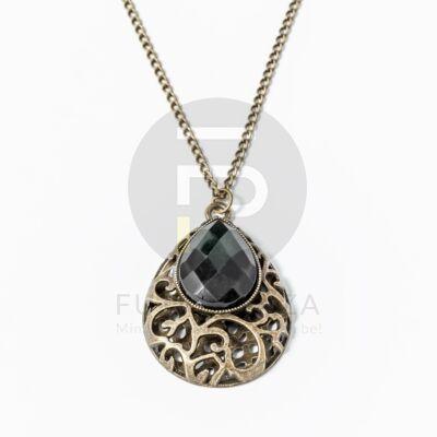 Antikolt csepp medálos nyaklánc fekete köves