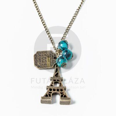Antikolt Eiffel-torony medálos nyaklánc zöld gyöngyökkel
