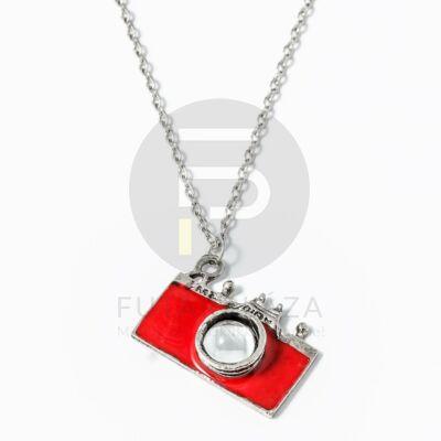 Fényképezőgép medálos nyaklánc piros