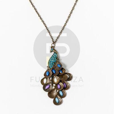 Antikolt páva medálos nyaklánc kék kövekkel