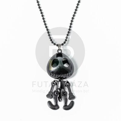 Csontváz figurás nyaklánc - fekete