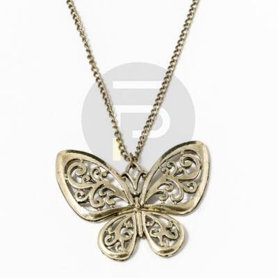 Pillangó medál nyaklánccal - antikolt