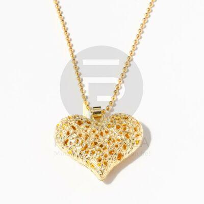 Szív medálos nyaklánc - arany bevonatos