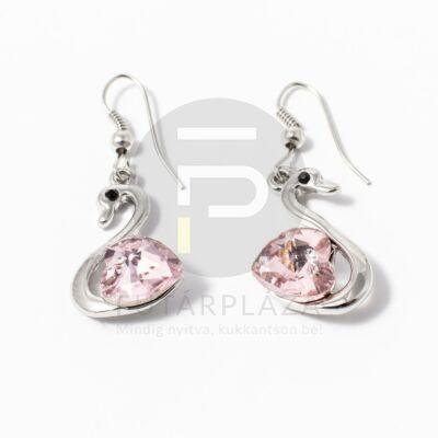 Fehérarany bevonatos köves hattyú fülbevaló rózsaszín