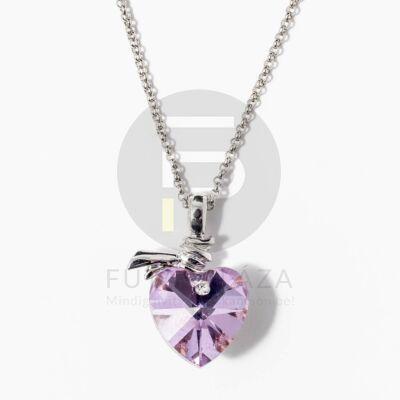 Fehérarany bevonatos szivecske medálos nyaklánc lila