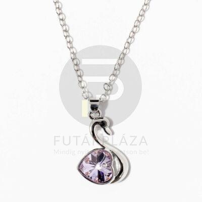 Fehérarany bevonatos hattyú medálos nyaklánc lila