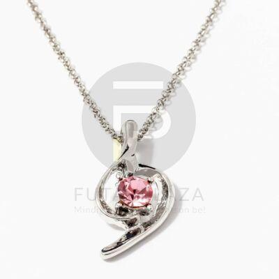 Fehérarany bevonatos nyaklánc köves medállal rózsaszín