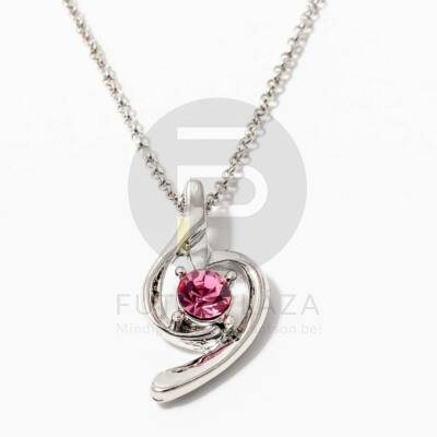 Fehérarany bevonatos nyaklánc köves medállal pink