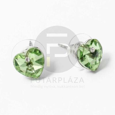 Ezüst bevonatos szivecske beszúrós fülbevaló zöld