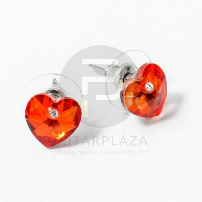Ezüst bevonatos szivecske beszúrós fülbevaló narancs