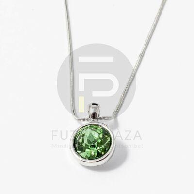 Ezüst bevonatos kerek köves medál nyaklánccal zöld