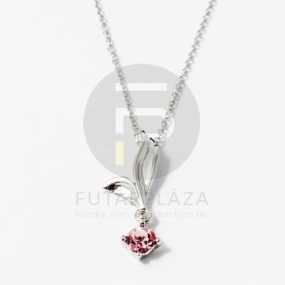 Ezüst bevonatos levél medálos nyaklánc rózsaszín kővel