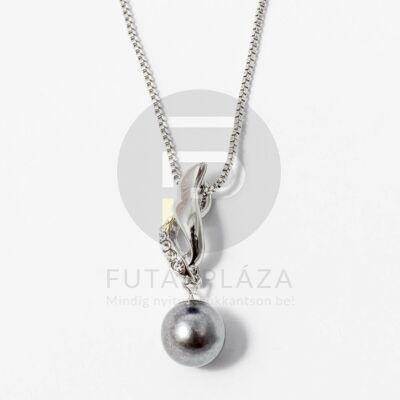 Ezüst bevonatos gyöngy medálos nyaklánc antrazit