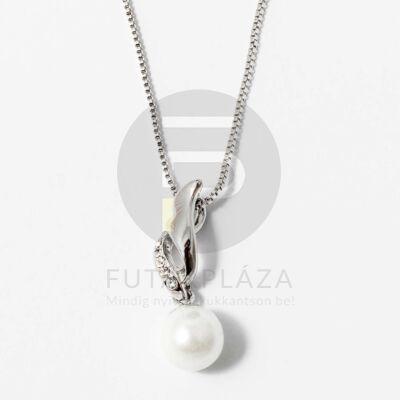 Ezüst bevonatos gyöngy medálos nyaklánc fehér