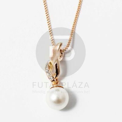 Arany bevonatos gyöngy medálos nyaklánc fehér