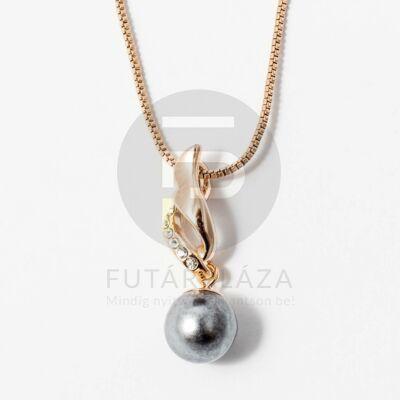 Arany bevonatos gyöngy medálos nyaklánc antrazit